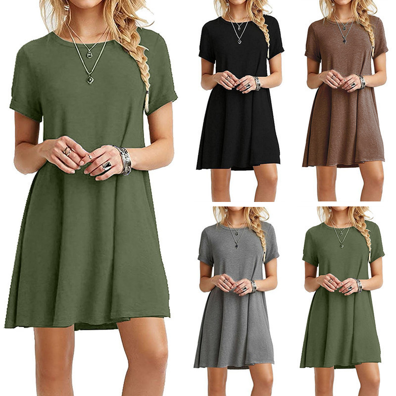 Womens solid color dress, short-sleeved round neck fashion simple and comfortable style, popular 2019