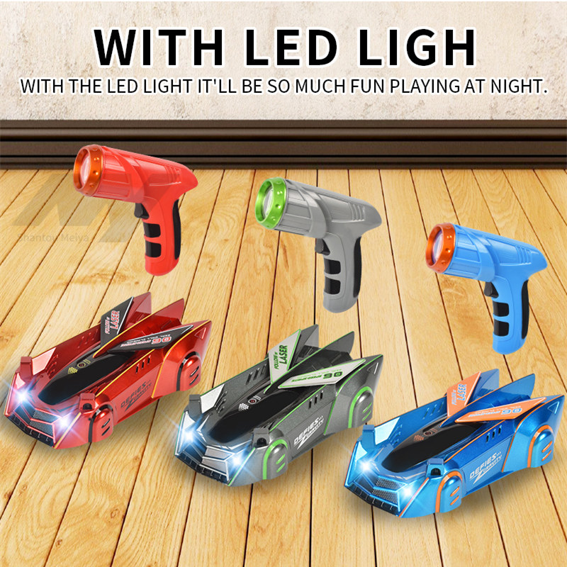 The new metallic paint wall climbing car infrared remote control charging ground metope dual-mode racing gift toys for children