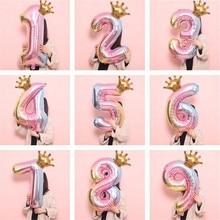 32 inch Gradient Color Crown Digital Aluminum Film Balloon Children Boy or Girl Birthday Decoration Party Supplies Toy