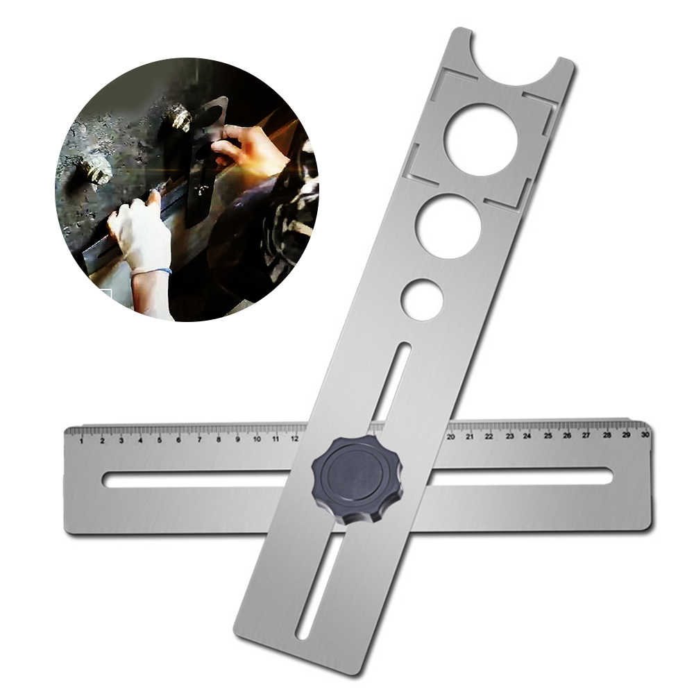tile hole locator stainless steel ceramic tile hole locator ruler adjustable punching hand tool for house decorated work