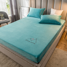 Fitted-Sheet Cover Solid-Color Single-Size for Winter Thick Warm Soft Velvet with Elastic