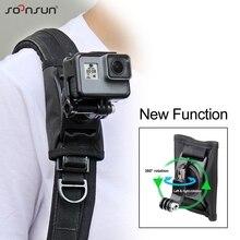 Soonsun 360 graus de rotação ajustável mochila alça ombro cinto montagem para gopro hero 9 8 7 6 5 para dji osmo ação acessório