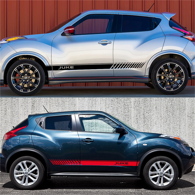2PCS For Nissan Juke Auto Both Side Decor Graphic Vinyl Stripes Decals Car Door Side Skirt Stickers Racing Exterior Accessories 4