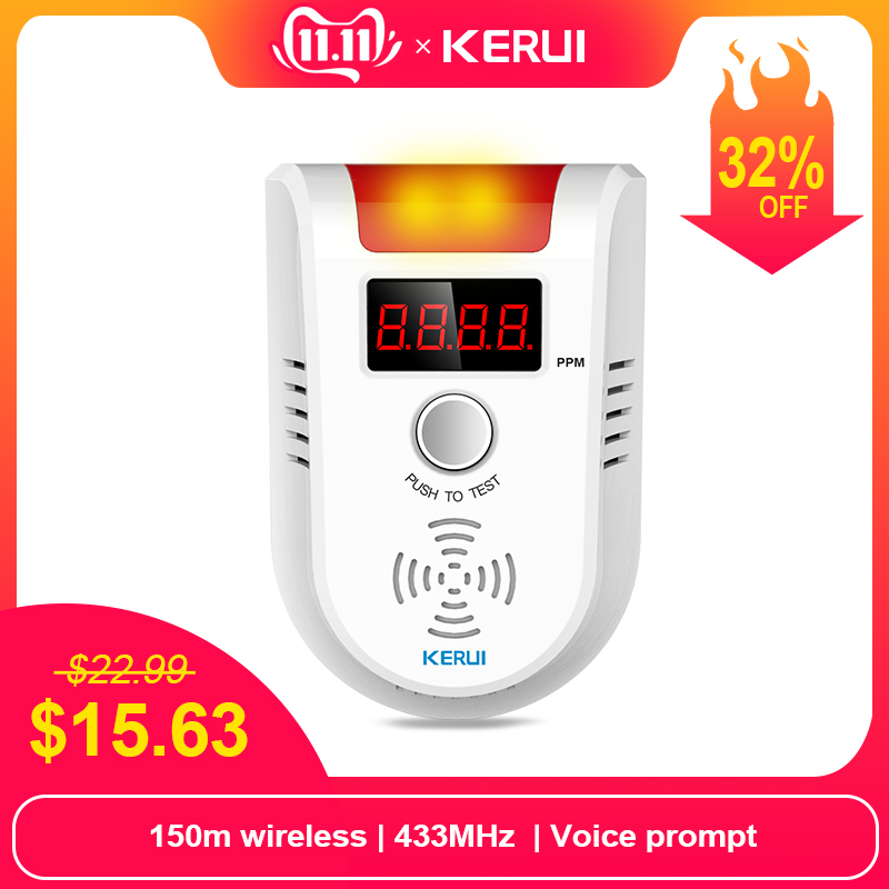 Kerui gd13 lpg gas detektor alarm wireless digital led display natürliche leck brennbaren gas detektor für zuhause alarmanlage