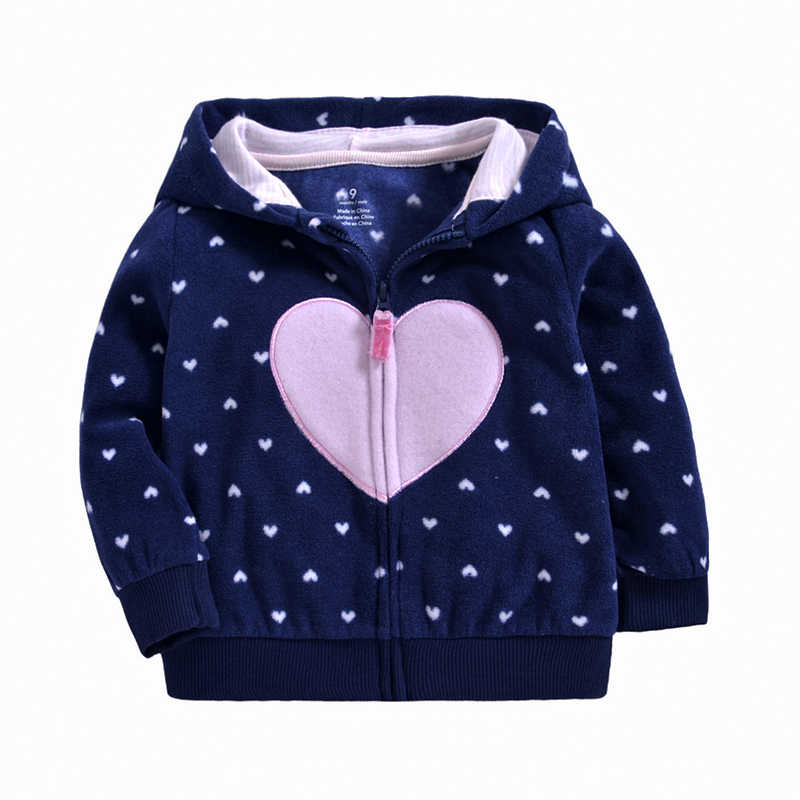 Casual Navy Top Hart Cartoon Print Leuke Jongens Meisjes Cartoon Losse Truien Hooded Voor Kinderen Rits Sweatershirt Baby Jas Jas