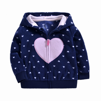 Casual children top Heart Cartoon Print Cute Girls Cartoon Loose Pullovers Hooded For Kids Zipper sweatershirt Baby Jacket Coat цена 2017
