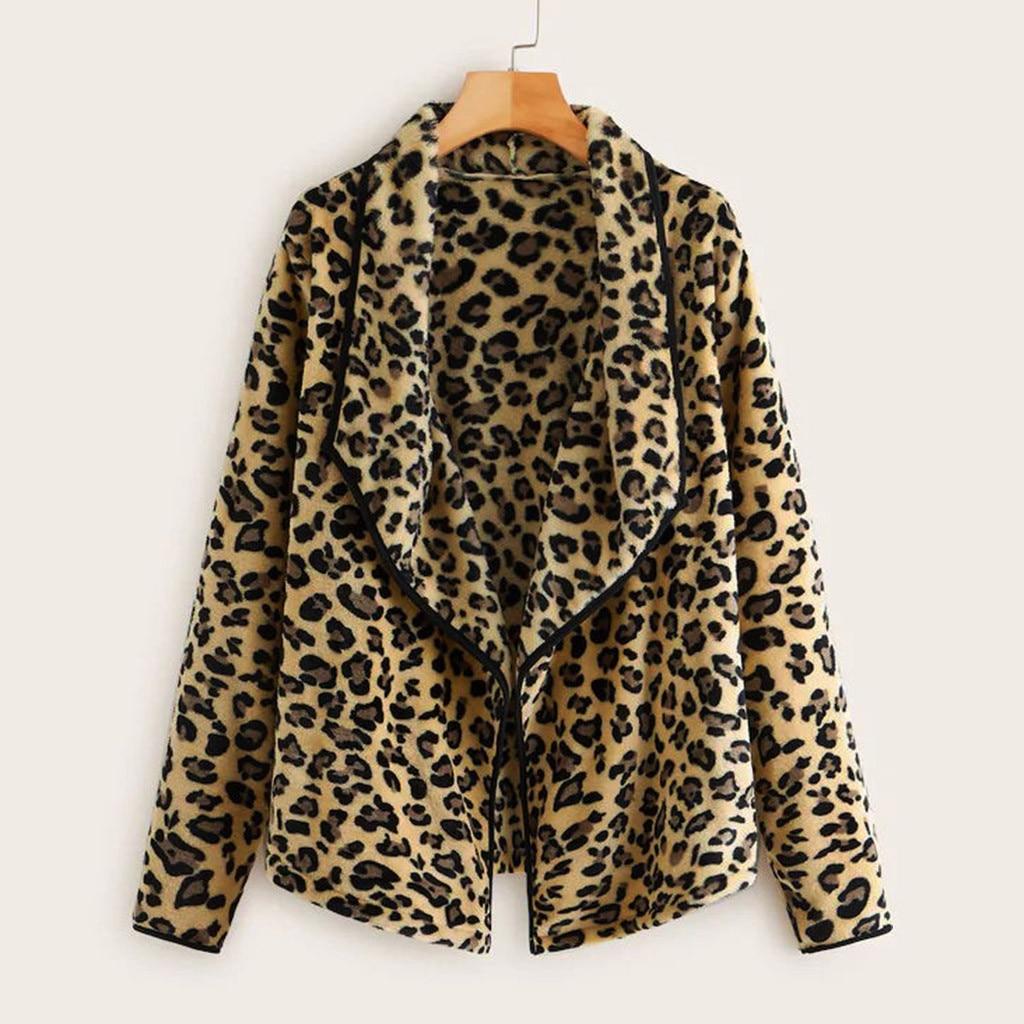 Women Trench Women Leopard Plush Loose Irregular Collar Cardigan Wool Coat Winter Jacket Trench Coat