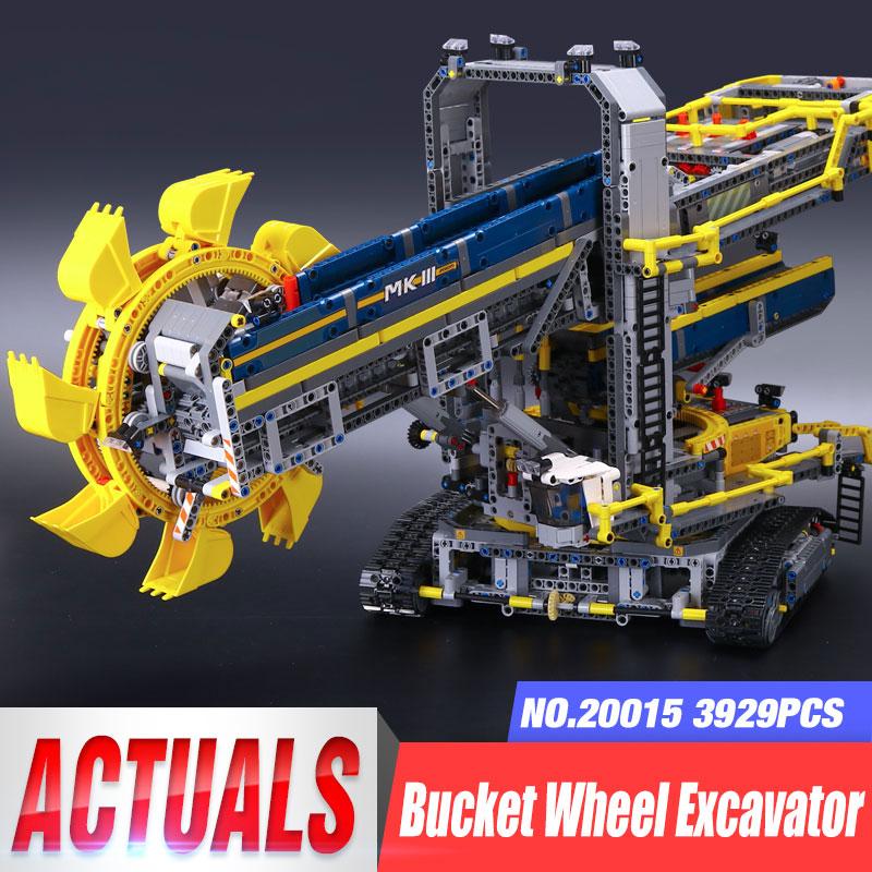 DHL 20015 Technic รถของเล่น 42055 ล้อ Excavator Excavator ชุดอาคารอิฐบล็อกการศึกษาเด็กของเล่นคริสต์มาสของขวัญ-ใน บล็อก จาก ของเล่นและงานอดิเรก บน   1