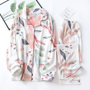 Image 1 - BZEL Nette Rosa Weiß Nachtwäsche Anzug Weichen frauen Pyjamas Baumwolle Zwei Stück Sets Nachtwäsche Geschenk Weibliche Unterwäsche Homewear Pijamas