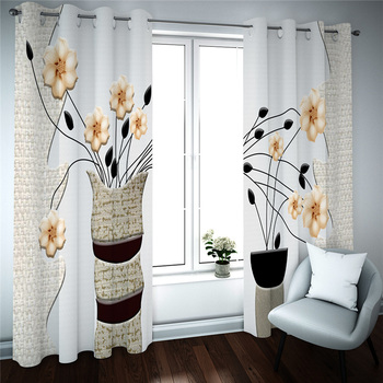 Beautiful Photo Fashion Customized 3D Curtains Burlap effect bottle flowers Photo 3D Curtains for Living Room Window