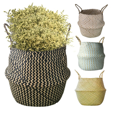 Bamboo Storage Baskets Foldable Laundry Straw Patchwork Wicker Rattan Seagrass Belly Garden Flower Pot Planter Baskets