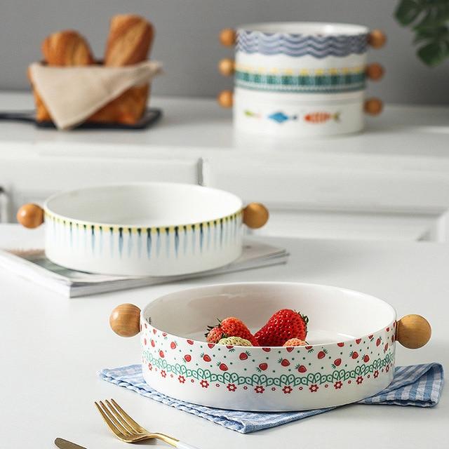 Ceramic Handle Baking Tray Wooden Handle Binaural Bowl Fruit Bowl Cheese Italian Plate Fish Dish Child Tableware Salad Dishes