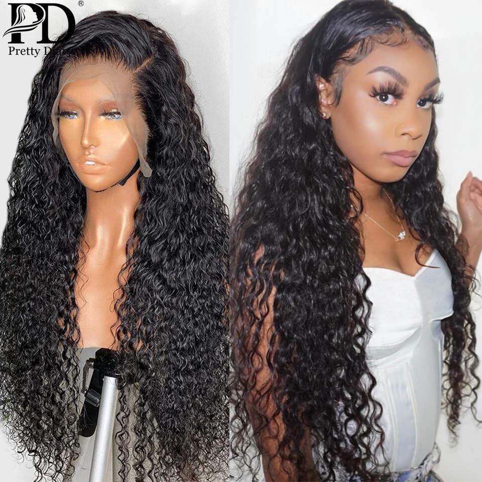 28 30 Polegada 13x4 encaracolado frente do laço perucas de cabelo humano onda profunda frontal peruca pré arrancado 360 perucas de renda para preto remy onda água