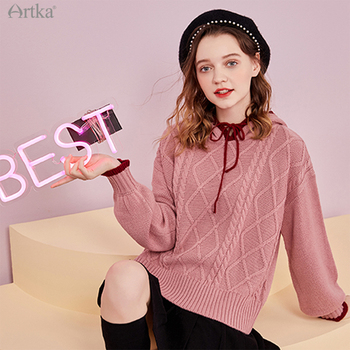 ARTKA 2020 Autumn Winter New Women Sweater Fashion Casual Soft Wool Knitted Loose Pullover Hooded Warm YB25209D