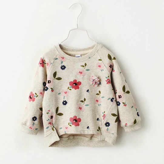 2018 autumn new children's wear Korean version, girl's sweater, bottoming shirt flower collar sweater.