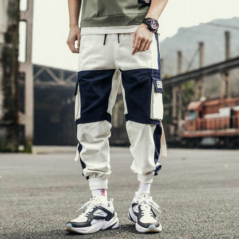 Hip Hop Ribbons Cargo Pants Men Joggers Pants Streetwear Men 2020 Fashion Mens Elastic Waist Pant Ribbons Trousers Cotton Black