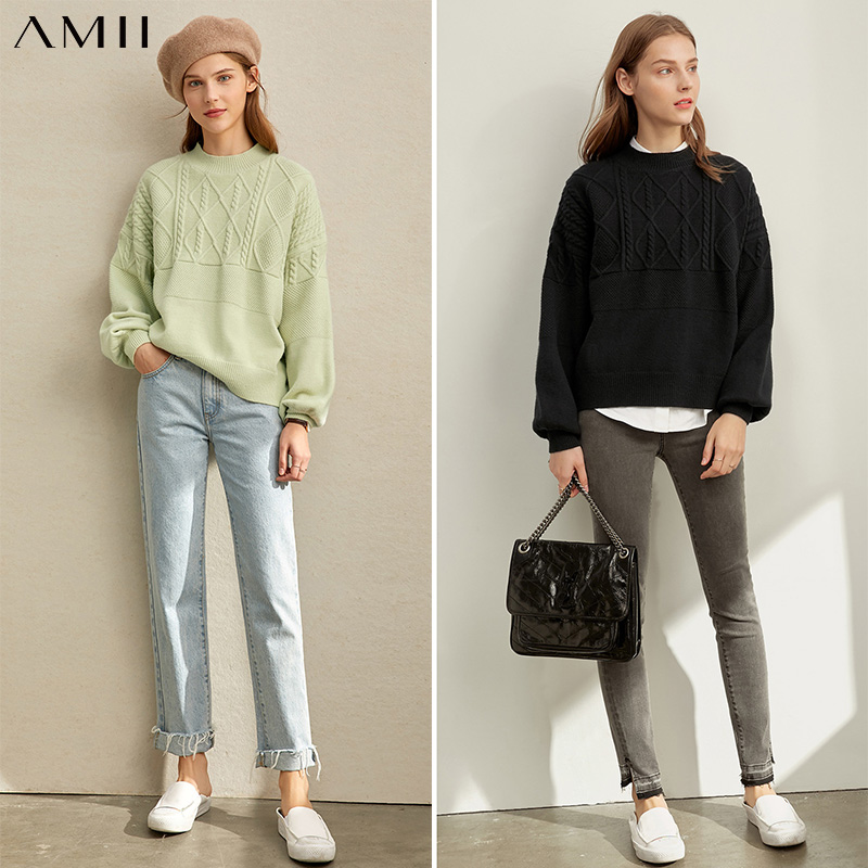 Amii Minimalist Knit Sweater Autumn Women Casual Round Neck Long Sleeve Solid Loose Elegant Female Pullover Tops 11930264