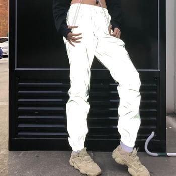 Odblaskowe biegaczy damskie spodnie dresowe szary odblaskowe spodnie damskie punk neon spodnie damskie spodnie koreański zima 2019 tanie i dobre opinie Gesuseeds Kostki długości spodnie Poliester COTTON Elastyczny pas Mieszkanie GS01090 Stałe Streetwear Tkane Ołówek spodnie