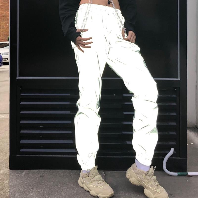 Reflective Joggers Women Sweatpants Gray Reflective Pants Ladies Punk Neon Pants Women Trousers Korean Winter 2019