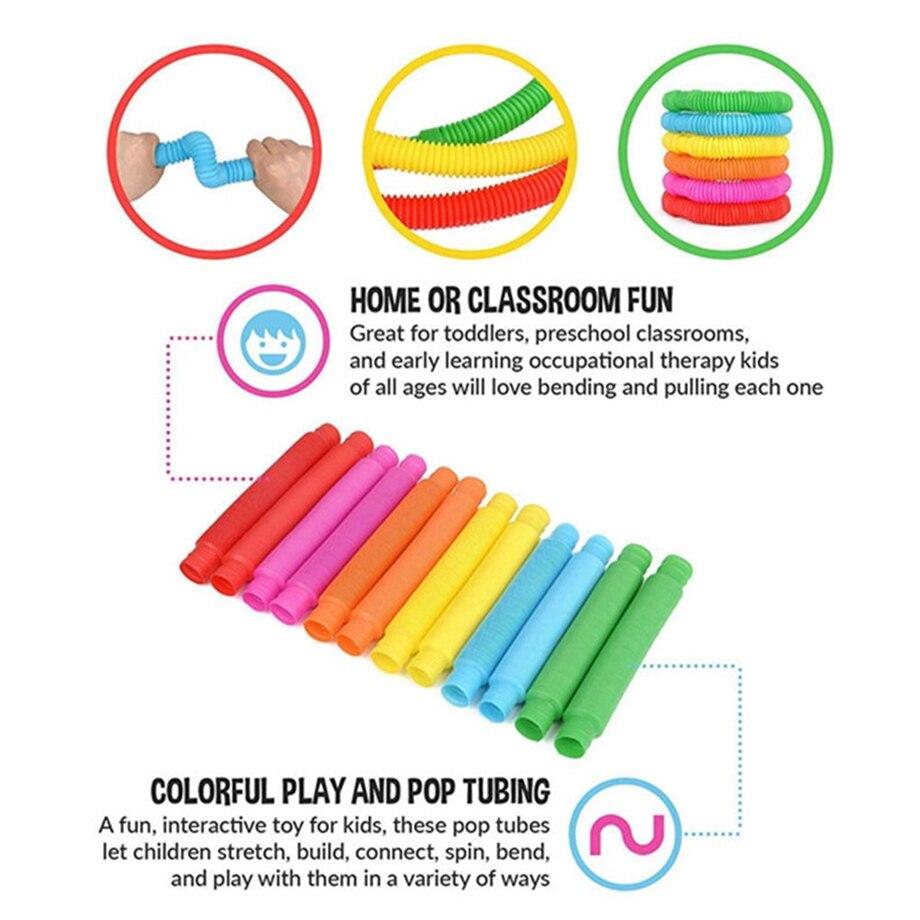 Colorful Fidget Pop Tubes Fidget Toys Folding Pops It Autism Adults Sensory Stress Relief Toys Kids Funny Antistress Toys img3