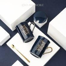 Simples clássico nórdico copo de cerâmica com tampa caneca criativa presente prático copo de café desenho ouro caneca de café com colher de café