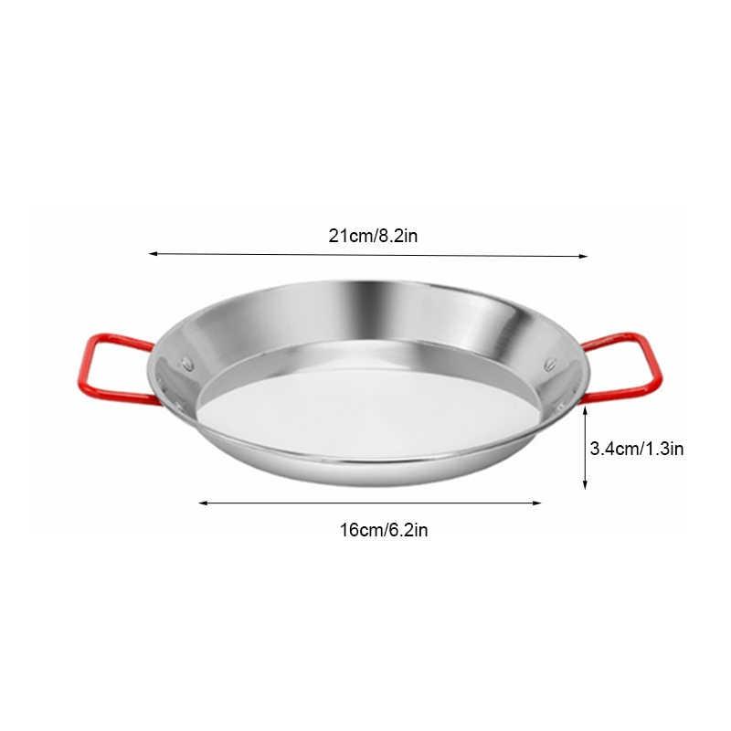TEENRA สแตนเลส Paella PAN สเปนอาหารทะเลหม้อทอด Non-Stick หม้อครัวทอดไก่ผลไม้แผ่นทำอาหารเครื่องมือ