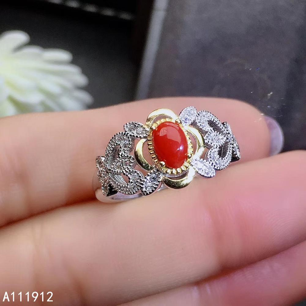 KJJEAXCMY fine jewelry natural red coral 925 sterling silver new women gemstone ring support test luxury