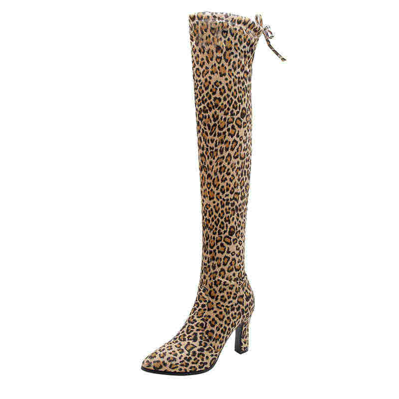 MEMUNIA 2020 Yeni yüksek topuklu diz üzerinde çizmeler lace up moda sivri burun kadın botları kadın seksi uyluk yüksek çizmeler