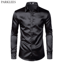 Men's Black Satin Luxury Dress Shirts 2019 Silk Smooth Men Tuxedo Shirt Slim Fit Wedding Party Prom Casual Shirt Chemise Homme
