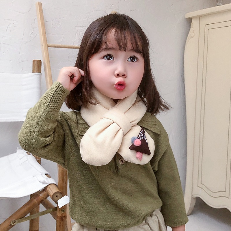 Mcmo High Grade Children's Winter Scarf Korean Version  Cute Baby Bib And Boy Girl Knitting Wool Warm Neck Scarf Hat Glove Sets