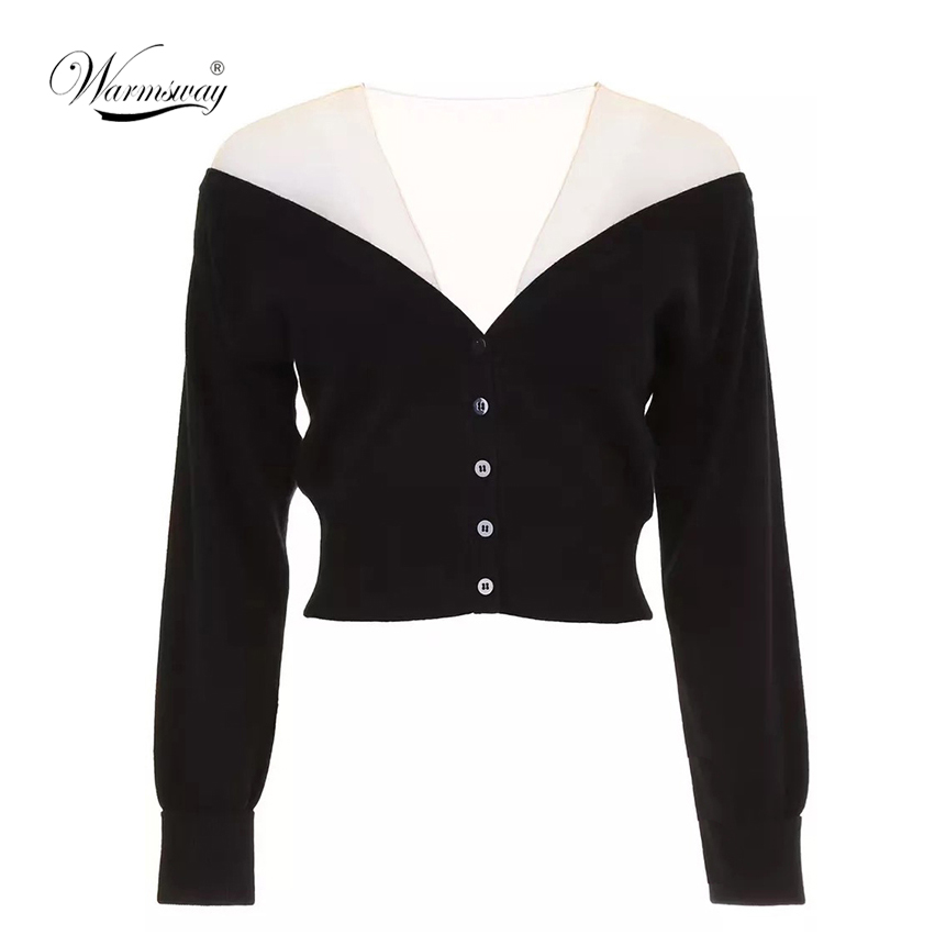 Streetwear Women's Sexy Sweater Mesh Patchwork V Neck Backless Off Shoulder Long Sleeve Crop Tops Female Autumn Cardigan C-019