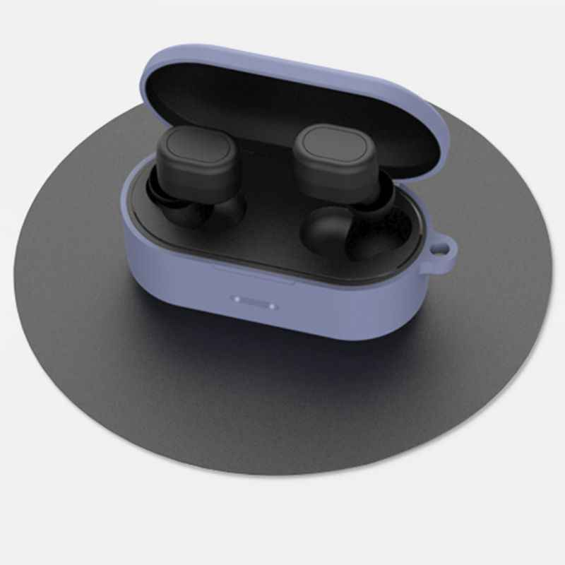 Funda protectora de silicona anticaída con mosquetón para auriculares QCY T1S/T2C