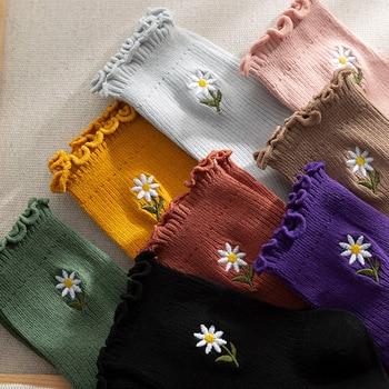 Con volantes de dibujo de flores calcetines Mujer lindo calcetines mujeres lindo skarpetki meias kobieta coincidentes calcetines meia mujer chaussettes calcetas