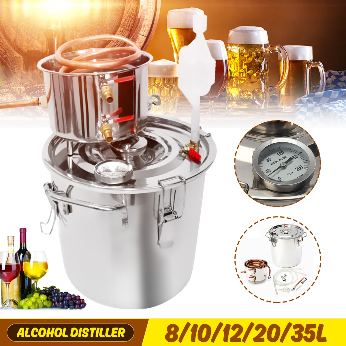 8/10/12/20/35L Distiller Moonshine Alcohol Stainless Copper DIY Home Water Wine Essential Oil Brewing Kit