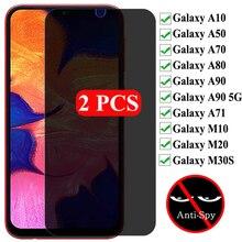 2 szt. Prywatność szkło hartowane do Samsung Galaxy A50 A10 A70 A71 A80 A90 5G szkło anty szpiegowskie do Galaxy M10 M20 ochraniacz ekranu
