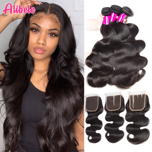 brazilian body wave bundles with closure, Human hair bundles with closure brazilian hair weave bundles(China)