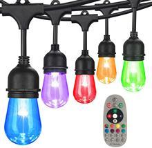 15M Commercial Grade LED String Lights S14 RGBW LED Retro Edison Filament Bulb Christmas Wedding Holiday Lighting Garland