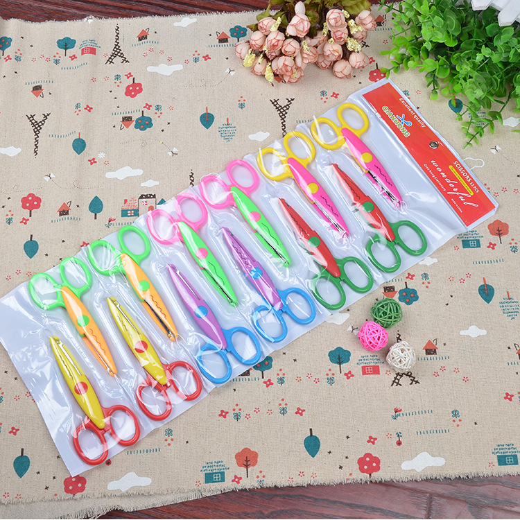 Qian Wang Stationery 12 To Keep Bag Children Safe Scissors Handmade Album Lace Scissors Photo Card Photo Album Shear
