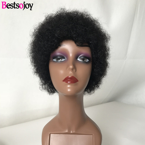 Bestsojoy pelucas de cabello humano corto humano de Remy Pelo Rizado pelucas para mujeres 100% Cabello Humano Máquina corte Pixie peluca No olor