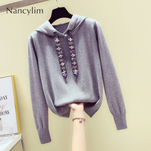 купить 2019 Autumn New Hooded Sweater Woman Loose Long Sleeve Rope Beaded Sweater Girls Lady Grey Jumper Outwear Coat Knitting Shirts по цене 1731.19 рублей