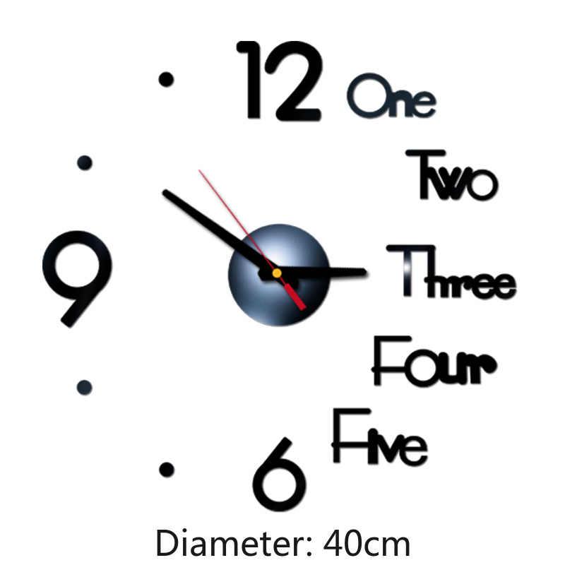2020 nowy DIY 40cm akrylowy zegar ścienny lustro bez ram numer Sticke artystyczne naklejki wystrój salonu zegar ścienny nowoczesny Design