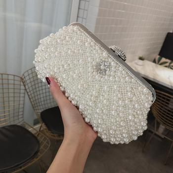 SEKUSA Beading women evening bags shell design small day clutch wedding bridal party chain shoulder handbags pearl purse bag sekusa ball diamond tassel women party metal crystal clutches evening wedding bag bridal shoulder handbag wristlets clutch