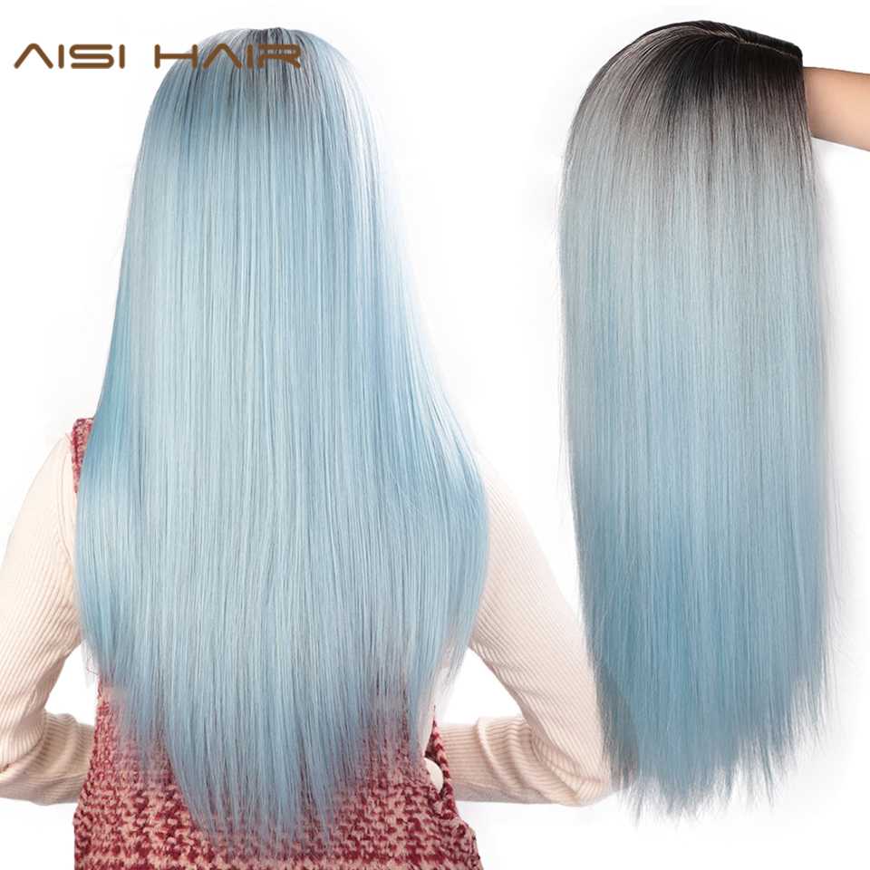 AISI HAIR Long Straight Synthetic Wig Light Blue Ombre Wigs For Women Mixed Brown And Blonde Wig Middle Part Nature Hair