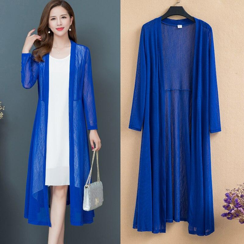 Spring Summer Long Shawl Coat Women Loose Temperament Mesh gauze Thin Cardigan Plus size 6XL Beach Female Sun protection clothes