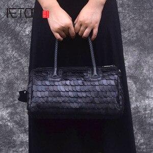 Image 1 - AETOO Retro fashion winter big bag portable fish scales sheepskin handbags fashion Europe shopping fashion handbags