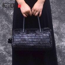 AETOO Retro squame di pesce borse di pelle di pecora di inverno di modo di big bag portatile di modo Europa shopping di moda borse