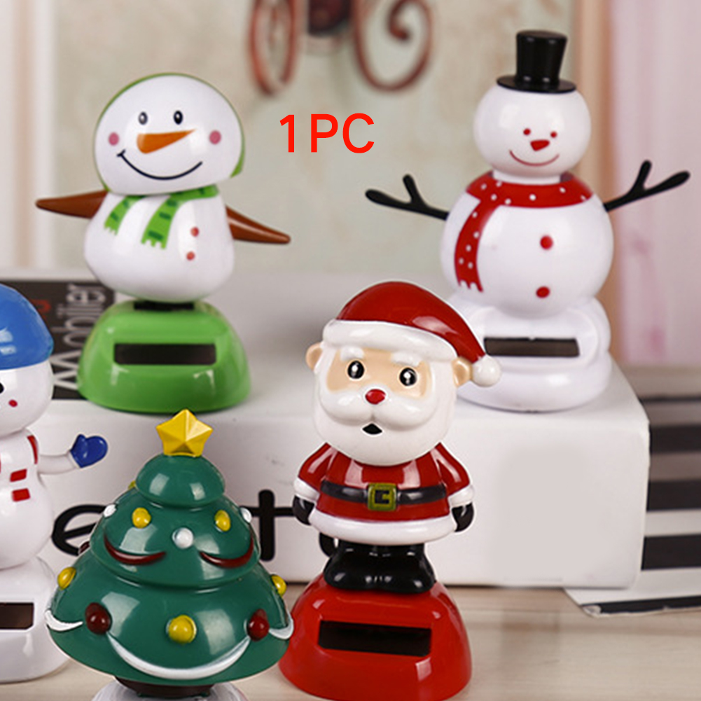 Car Doll Cute Decoration Christmas Solar Energy Shake Head Ornaments Party Children Toy