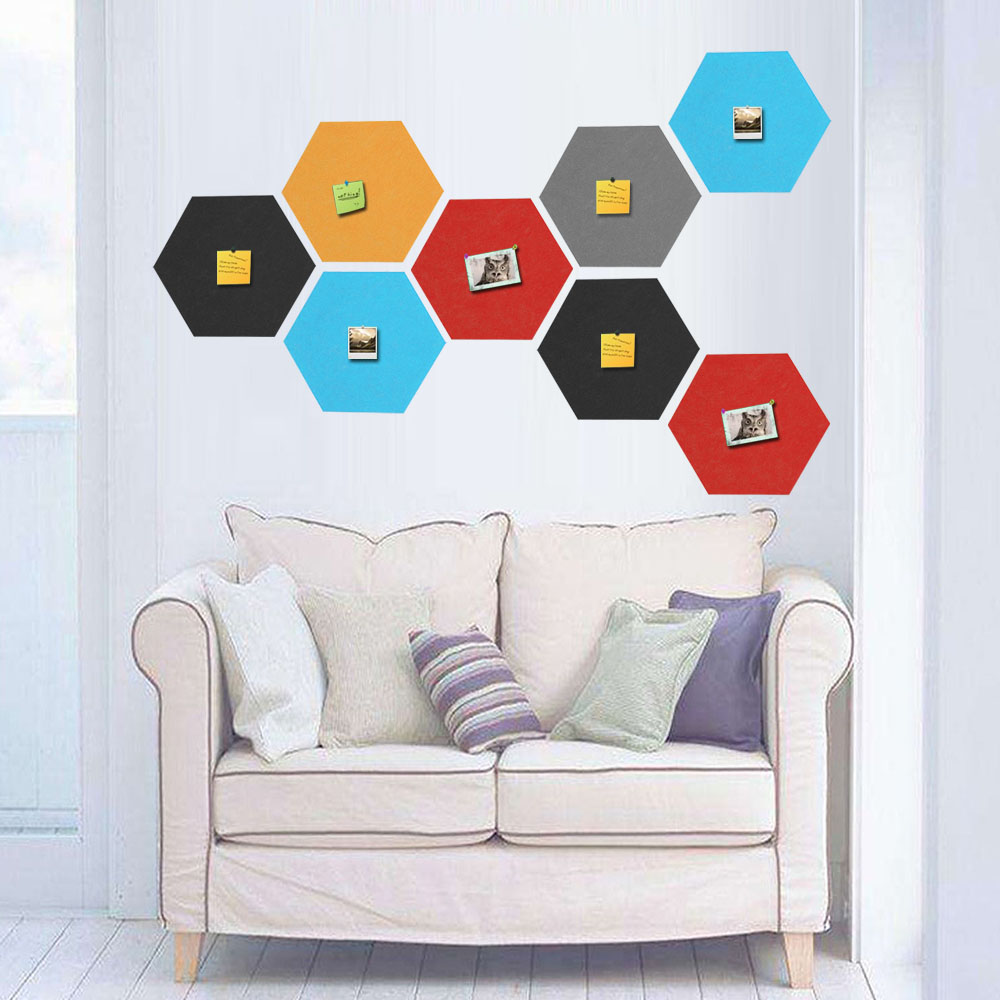 6PCS Assorted Colors Self-adhesive Hexagonal Felt Wall Bulletin Memo Photos Letter Message Display Board For Home Office Decor