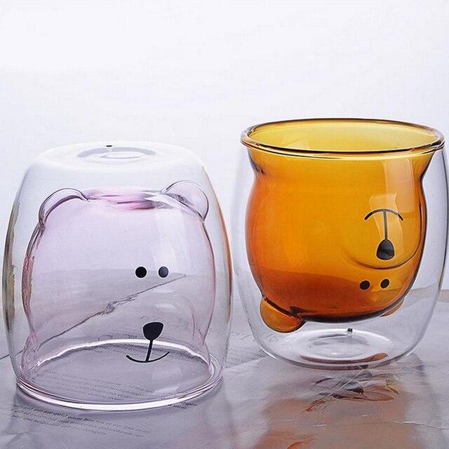 250ML créatif ours tasse à café mignon Animal Double verre tasse à café dessin animé Transparent lait tasses dame café tasses enfant Gife