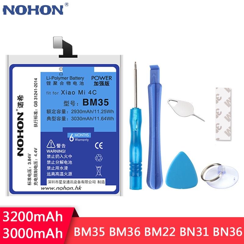 NOHON For Xiaomi Mi4c Mi5 Mi5S Mi5X Mi6X Mi 4C 5 5S 5X 6X Replacement Battery <font><b>BM35</b></font> BM36 BM22 BN31 BN36 High Capacity Bateria image